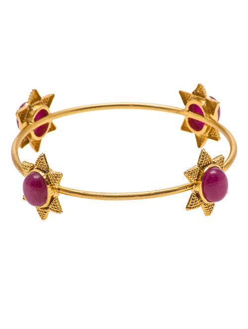 Ruby Gold-plated Silver Bangle (Bangle Size - 2/4 )