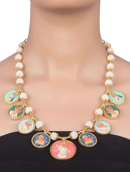 Multicolored Hand-painted Gold-plated Silver Necklace with Pearl