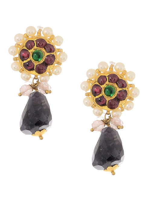 Iolite Gold-plated Silver Earrings with Pearls