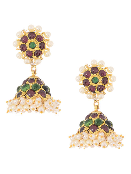 Red-Green Gold-plated Silver Jhumkis with Pearls