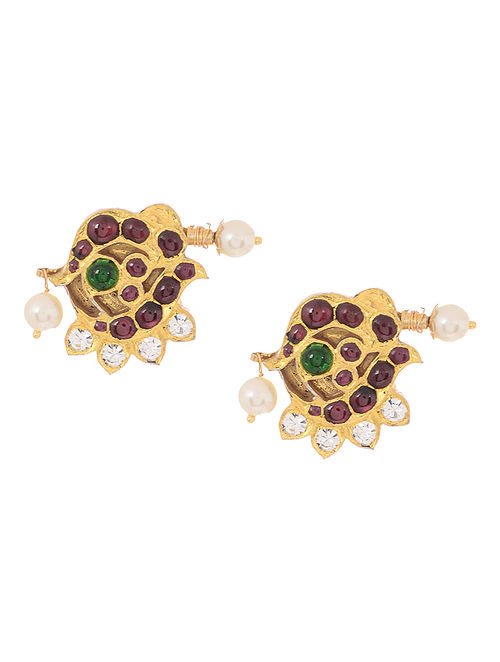 Pink-Green Gold-plated Silver Earrings