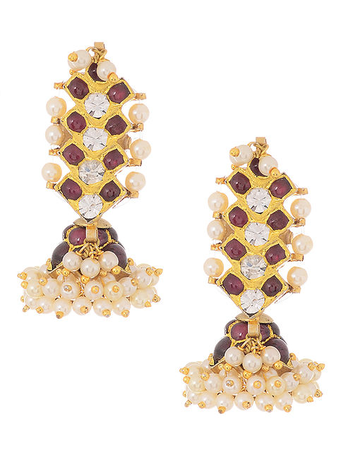 Pink Gold-plated Silver Jhumkis with Pearls
