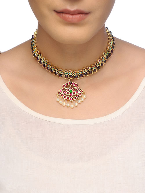 Pink-Green Gold-plated Silver Necklace with Pearls