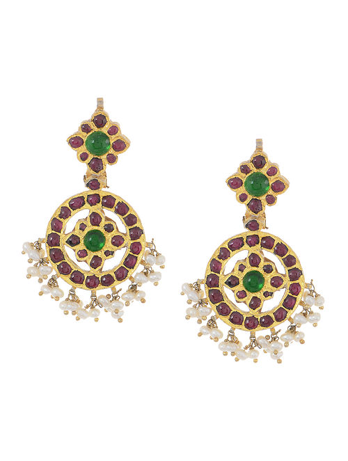 Pink-Green Gold-plated Silver Earrings with Pearls