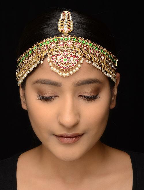 Pink-Green Gold-plated Silver Matha Patti