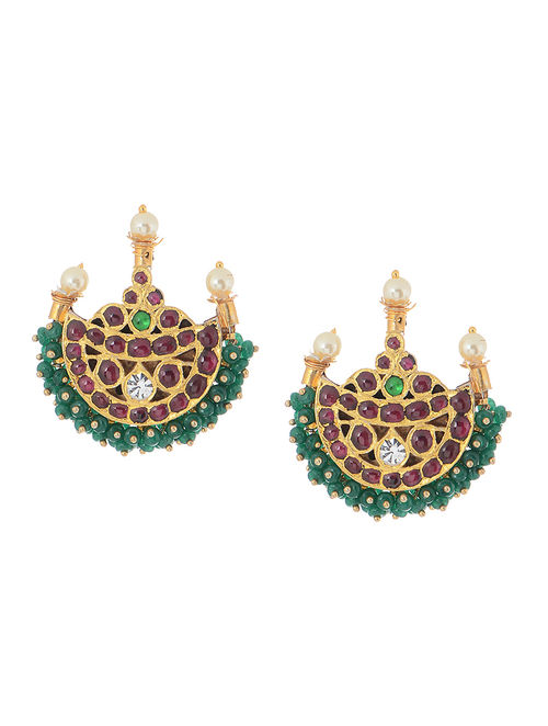 Jade Gold-plated Silver Earrings