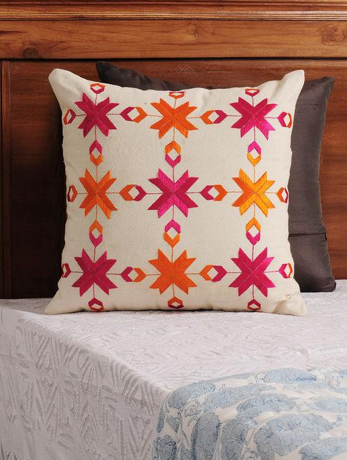 Buy Cream Fuschia Orange Phulkari Embroidered Cotton
