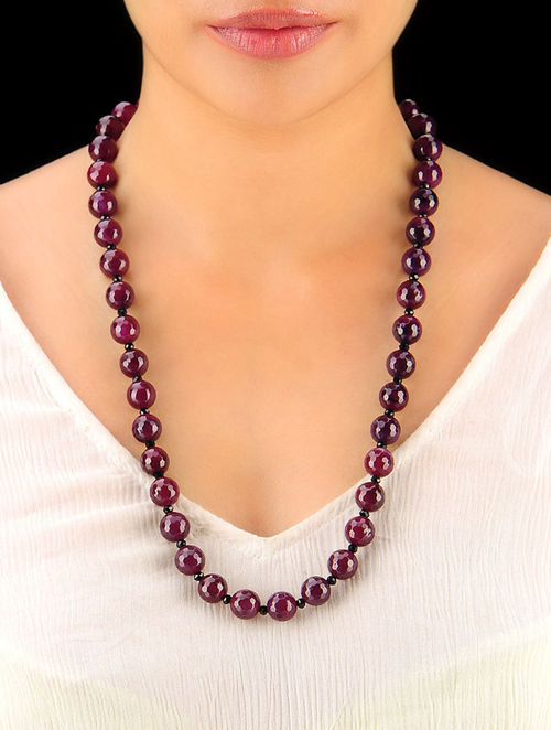 Burgandy - Black Hand Beaded Necklace