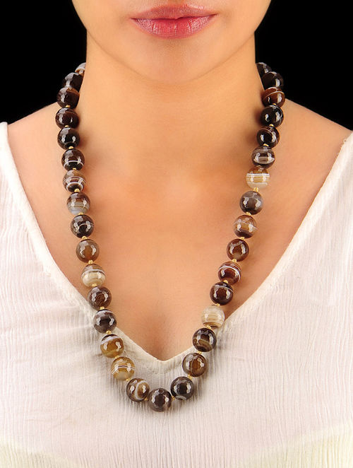 Shaded Brown Hand Beaded Necklace