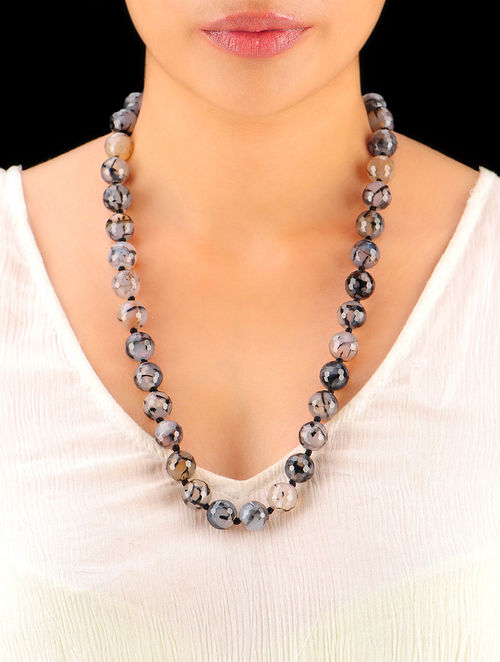 Shaded Grey Hand Beaded Necklace