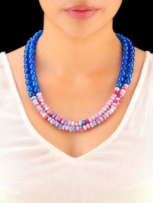 Indigo - Shaded Pink Hand Beaded Necklace