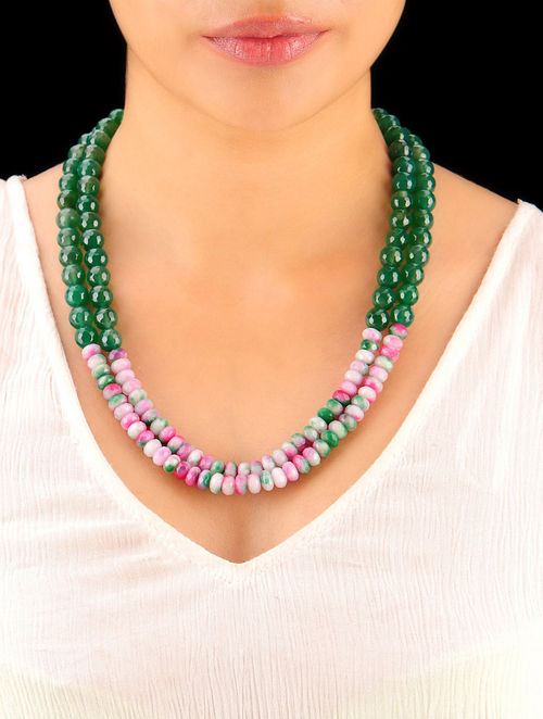 Leaf Green - Shaded Pink Hand Beaded Necklace