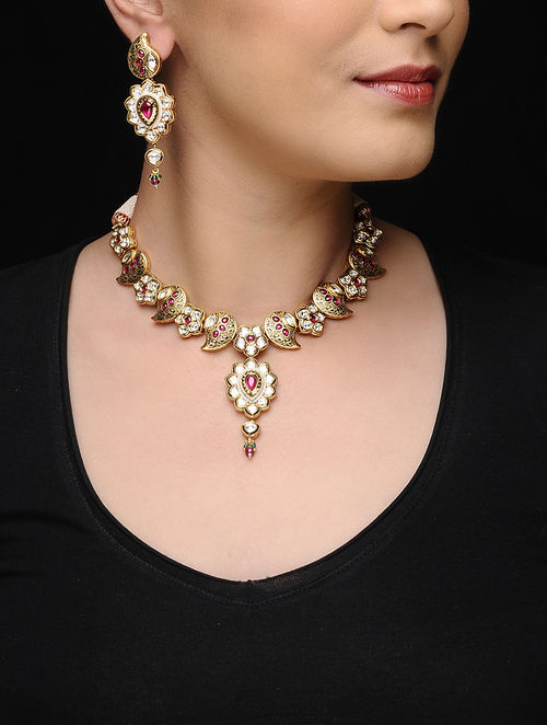 Pink Polki Gold-plated Meenakari Necklace with a Pair of Earrings (Set of 2)