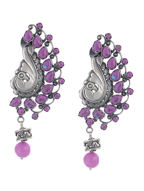 Purple Silver Earrings with Peacock Design