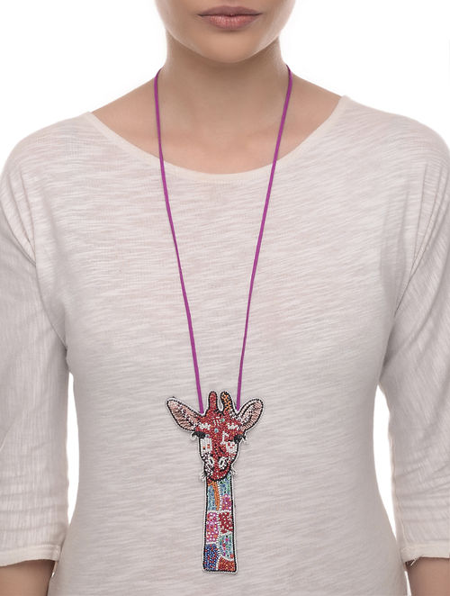 Zarafa Multicolored Embroidered Fabric Necklace with Bead Work