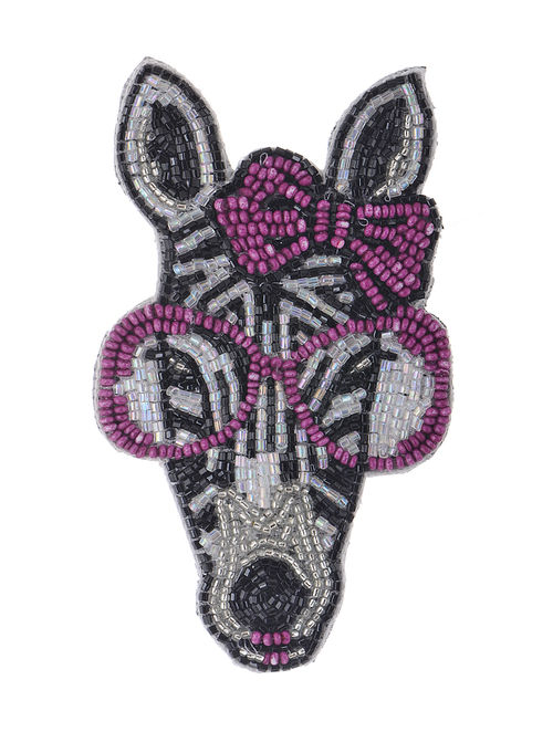 Nerd Black-Purple Embroidered Fabric Brooch with Bead Work