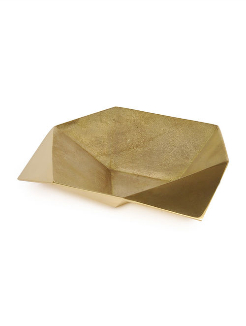 Buy Dull Golden Origami Bowl L By Anantaya 74in X 74in X 2in