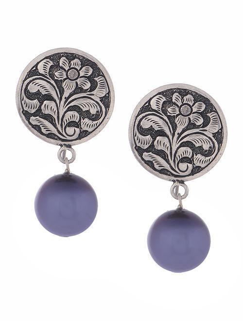 Buy Classic Chitari Purple Pearl Silver Earrings Online at  : akijwj000130531 12 from www.jaypore.com size 500 x 662 jpeg 45kB