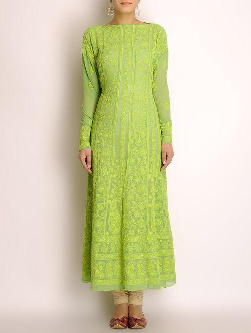 Buy Lime Green Georgette Chikankari Embroidered Kurta