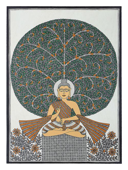 Buy Tree Of Life And Lord Buddha Madhubani Painting Online