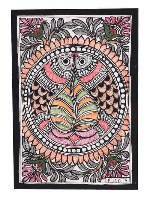 Buy Twin Fish Madhubani Painting 7 6in X 5 5in Online At