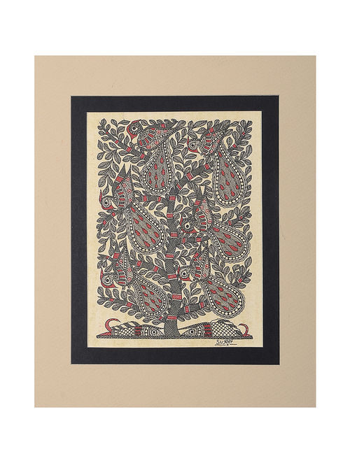 Buy Tree Of Life And Peacock Mounted Madhubani Painting