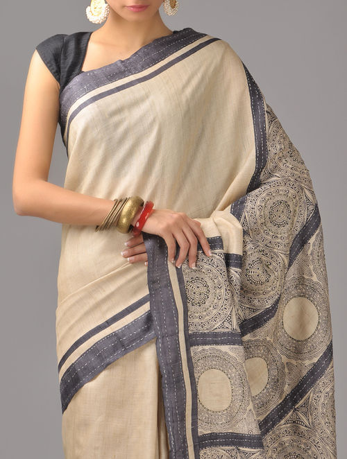 Buy Beige Black Tussar Silk Saree Online At Jaypore Com