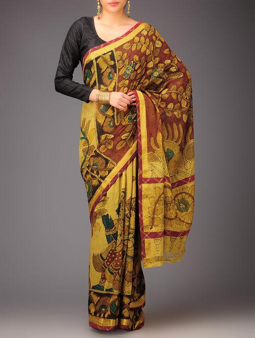 Buy Mustard Ras Leela Kalamkari Mangalagiri Cotton Saree