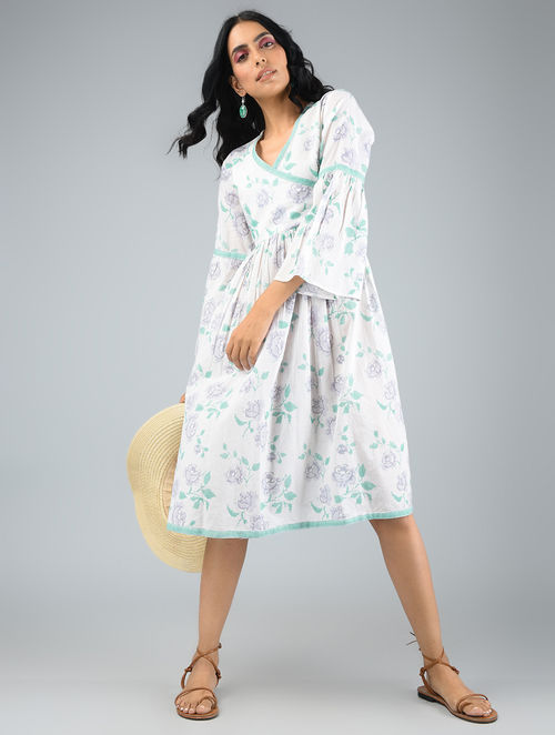aef6262989 Buy White-Green Printed Cotton Dress with Gathers Online at Jaypore ...