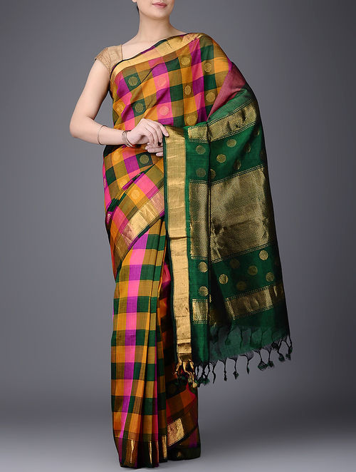 Buy Green Orange Checkered Cotton Silk Saree With Zari