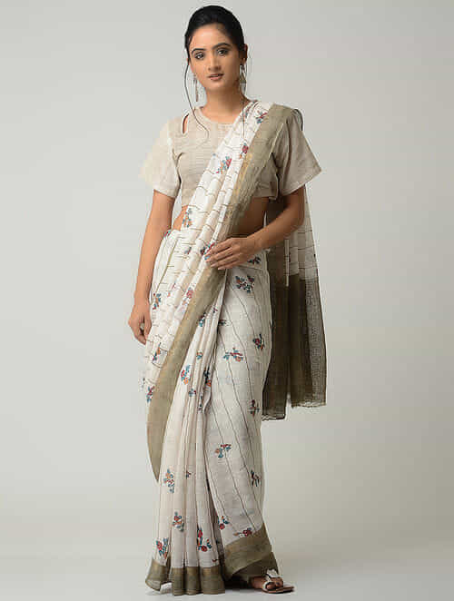 Buy Ivory Blue Printed Linen Saree With Zari Border Online