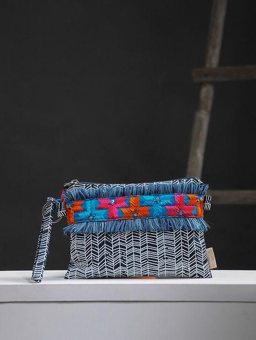 Blue-White Phulkari Cotton Canvas Pouch with Embellishments