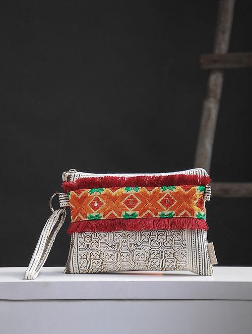 White-Brown Phulkari Cotton Canvas Pouch with Embellishments