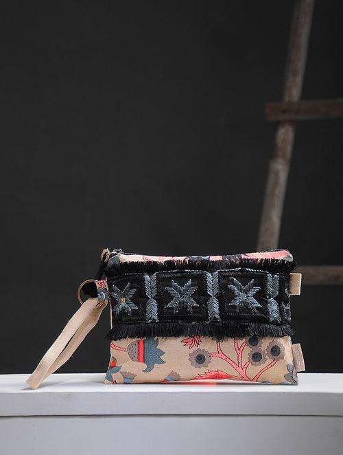Tan-Multicolored Phulkari Cotton Canvas Pouch with Embellishments