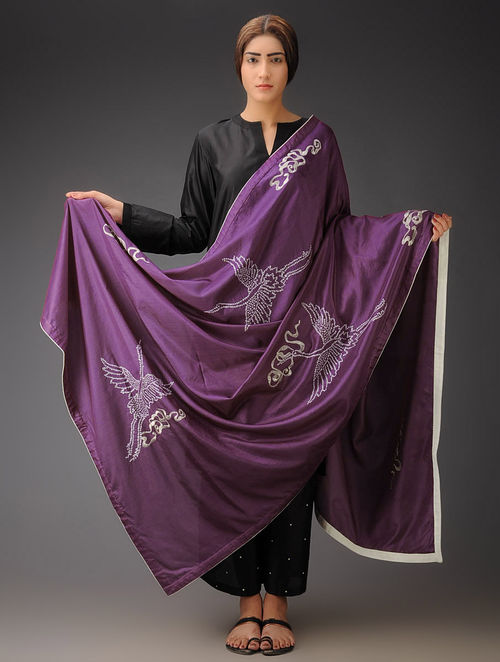 Wine-Ivory Cranes and Clouds Silk Parsi Gara Dupatta
