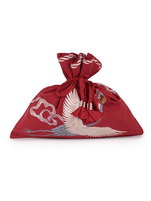 Red-Multi-Color Cranes and Clouds Crepe Silk Parsi Gara Potli