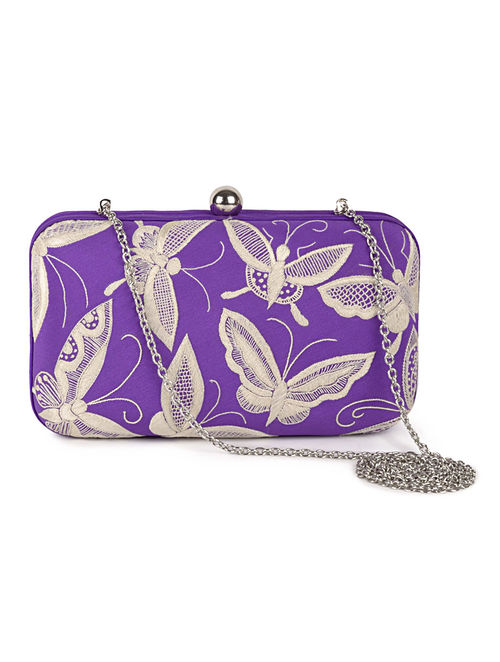 Purple-Ivory Butterfly Crepe Silk Parsi Gara Box Clutch