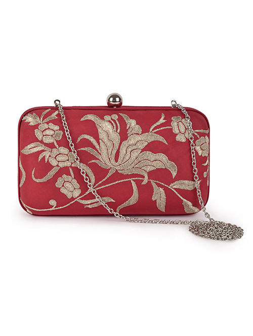 Red-Golden Iris Flower Crepe Silk Parsi Gara Box Clutch