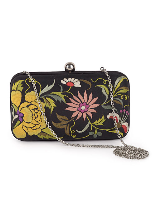 Black-Multi-Color Floral Crepe Silk Parsi Gara Box Clutch