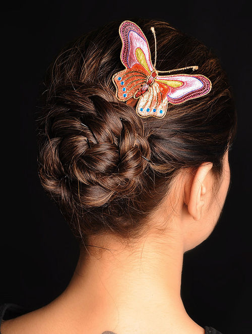 Pink-Peach  Crepe Silk Parsi Gara Hair Pin
