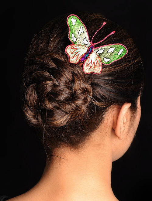Green-Pink  Crepe Silk Parsi Gara Hair Pin
