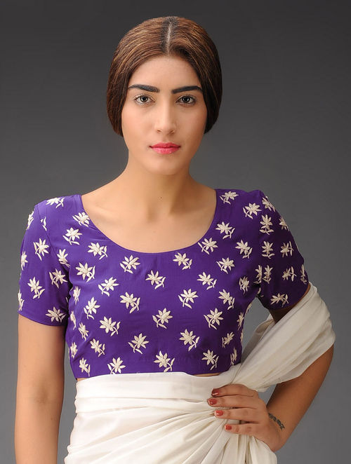 Purple-Ivory Lotus Flowers Crepe Silk Parsi Gara Blouse