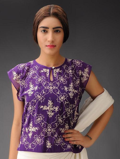 Purple-Ivory Trellis Georgette Parsi Gara Blouse