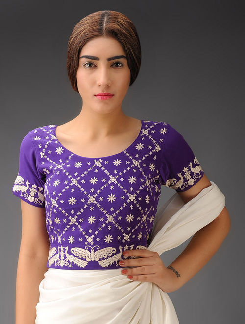 Purple-Ivory Peacock Border Crepe Silk Parsi Gara Blouse