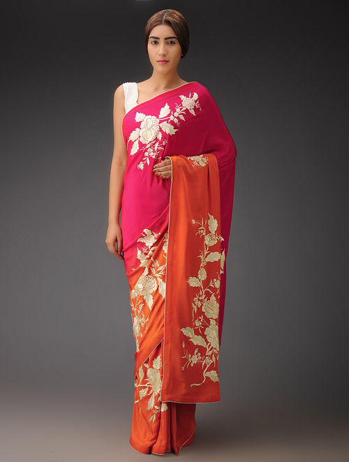 Pink-Orange Ombre Rose Placement Crepe Silk Parsi Gara Saree
