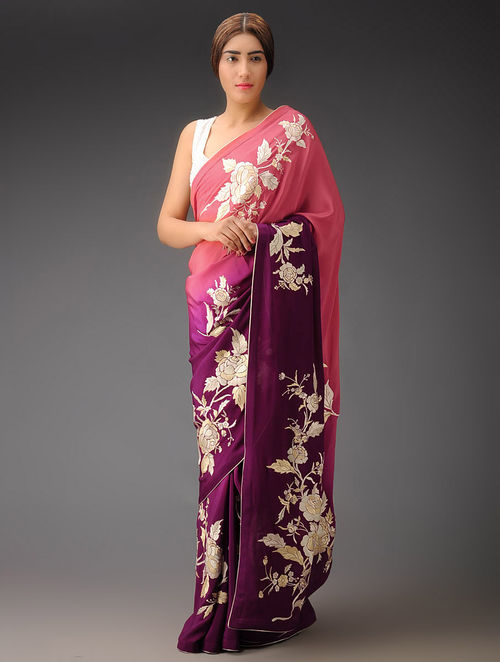 Pink-Wine Ombre Rose Placement Crepe Silk Parsi Gara Saree