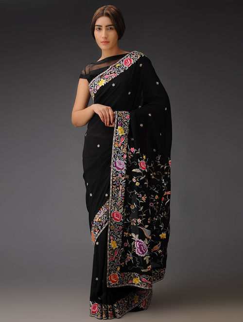 Black-Multi-Color Rose and Bird Gara Crepe Silk Parsi Gara Saree