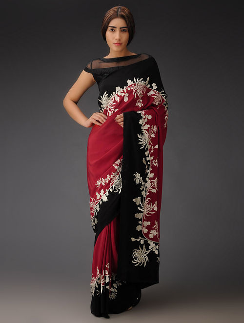 Red-Black Chrysanthemum Vine Crepe Silk Parsi Gara Saree