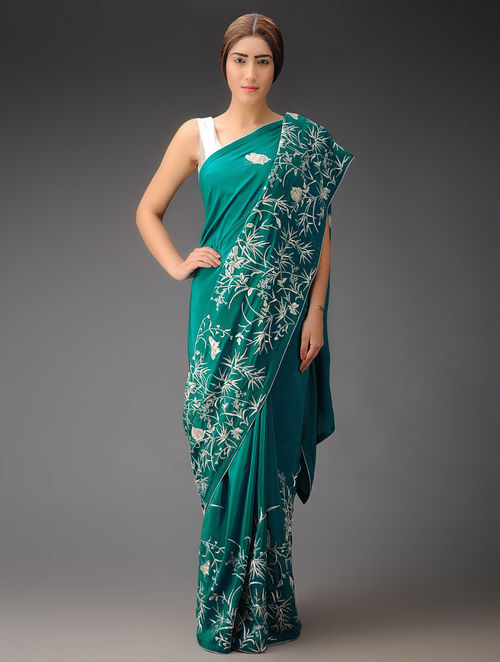Green Bamboo with Butterfly Crepe Silk Parsi Gara Saree