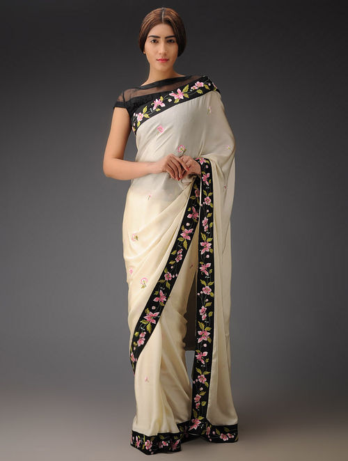 Ivory-Black-Multi-Color Floral Bootas Border Georgette Satin Parsi Gara Saree